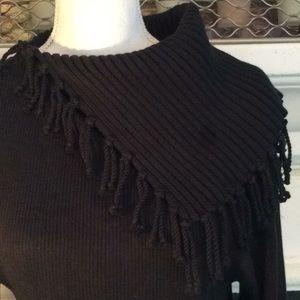 Tasseled split neck cowl stretch cotton sweater🌹